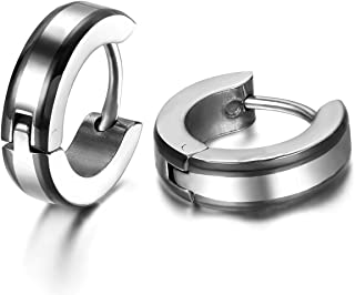 Clous doreilles /à tige ronde /à dos plat 16G pour homme et femme en acier inoxydable CZ faux calibre de boucles doreilles halt/ères Plug bijoux argent noir barre de 6 mm