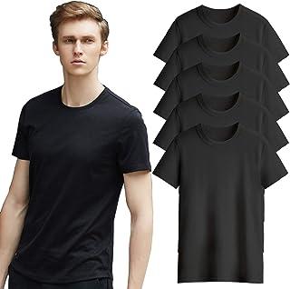 Tシャツ インナーシャツ 半袖 メンズ 綿100% 肌着 無地 5枚セット クルーネックティーシャツ 黒白 ブラック ホワイト おおきいサイズ