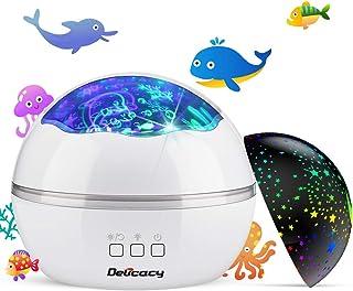 Luz de Proyector, Delicacy 2 in 1 Lámpara proyector estrellas & Lámpara de Océano Proyector 8 modos romántica luz de la noche, perfecto regalo para niños, cumpleaños, Navidad - Blanco y negro
