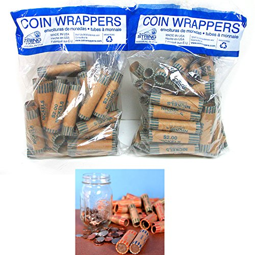 72 Rolls Preformed Coin Wrappers Paper Tubes for Nickels NF String Holds $2 Ea