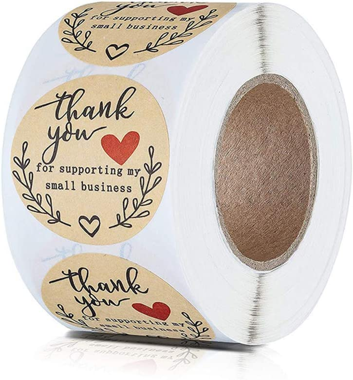 Adhesive Roll for Bags Ideal for Crafters Fliyy Thank You for Supporting Kraft Stickers Foil Small Business Labels /& Mailing Supplies for Sealing Stickers Foil for Sealing Tissue Boxes