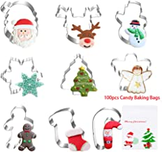 Meltset M Christmas Cookie Cutter Set-9 Piece with Snowflakes Angel Santa Claus Face Snowman Christmas Tree Reindeer Face ...