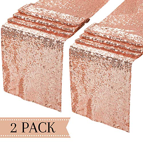 Rose Gold Table Runner 2 Pack Birthday and Wedding Tablecloth Baby Girl Shower Sequin Decor Sequin Tablecloth Cloth Fabric Decoration Runners Party Decorations, Rose Gold Baby Shower Decor