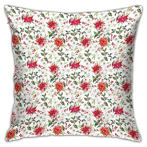 N\A Funda de Almohada Impresa con diseño de Dos Lados, Flores Frescas de Poinsettia y Ramas de Rowan Berry Funda de Almohada Cuadrada de jardín de Navidad