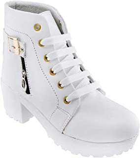 Legendary Style High Ankle Boots for Women Resonable (White,41 EU/8 UK-IND)