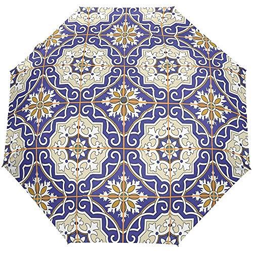 Wheatleya Wind-und Regenschutz-Regenschirm Bunter marokkanischer Fliesen-tragbarer Faltbarer Sonnenregen-Regenschirm