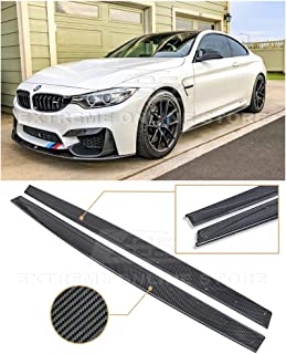 Extreme Online Store Replacement for 2015-Present BMW F82 F83 M4 | EOS M-Performance Style Carbon Fiber Side Skirt Rocker Panels Extension SS-120-BKCF