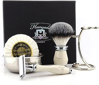 5 sztuk męski zestaw do golenia - maszynka do golenia z podwójną krawędzią z syntetyczną szczotką do golenia w uchwycie z ...