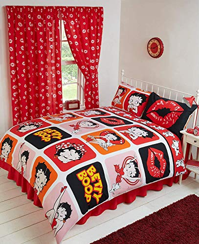 King Size Bed Betty Boop Picture Perfect, Duvet/Quilt Cover Bedding Set Fully Reversible, Polka Dot Wink Hearts Pudgy Dog Lips Kiss Kicking Classic Iconic Images, Black White Red Pink Orange Yellow