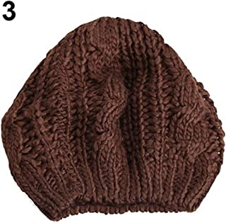 KCBYSS Women's Fashion Braided Baggy Wool Knitted Warm Winter Beanie Hat Cap (Color : Coffee)