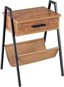 Table de Chevet Table de Nuit Style Industrielle et Scandinaves en Bois avec Un Tiroir et Un Sac de Rangement 43.5x39.5x62.5 cm