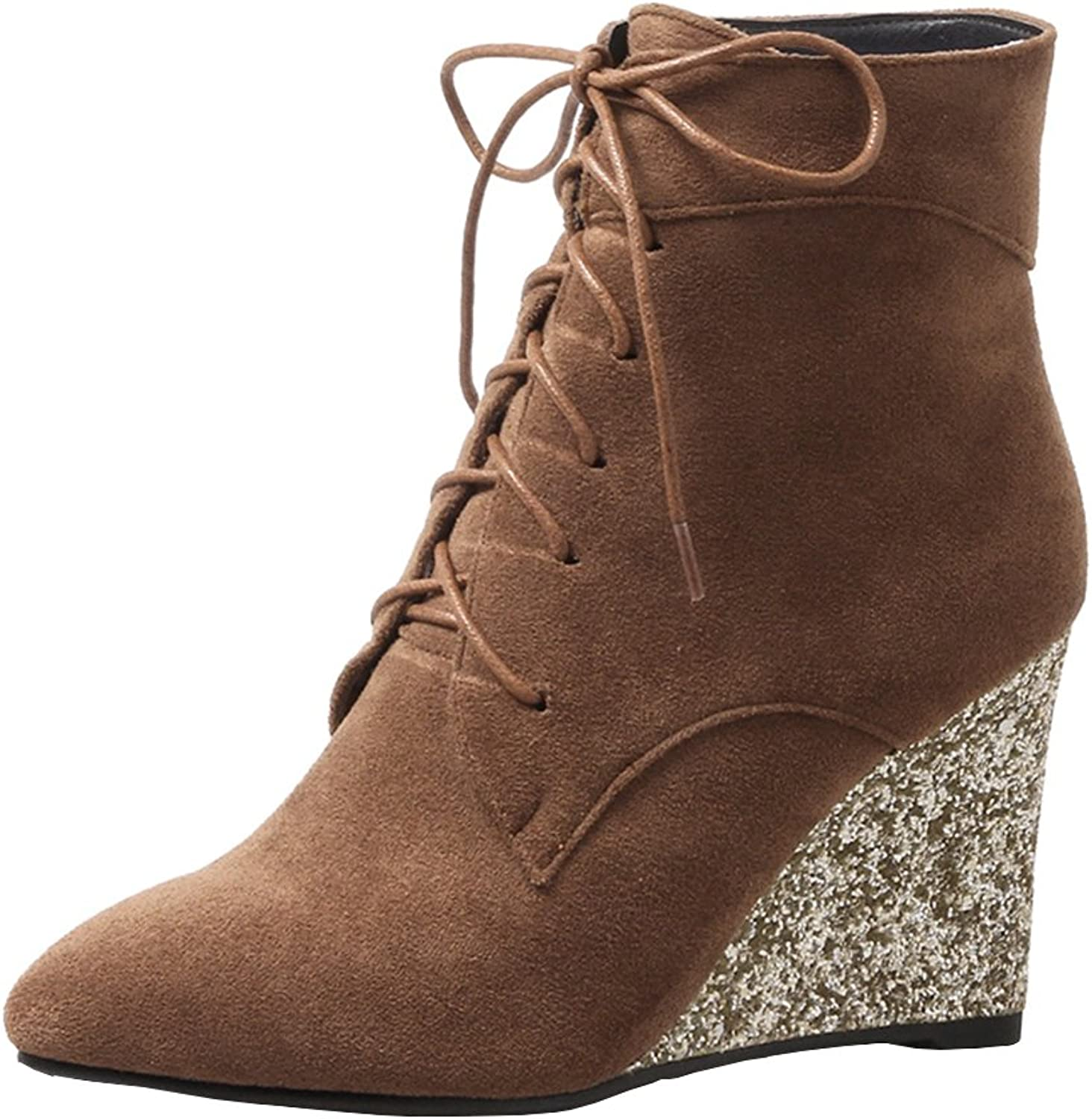 Agodor Womens Wedge Heel Lace up Ankle Boots High Heels Pointed Toe Autumn Winter shoes
