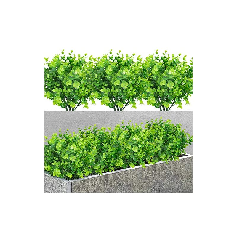 silk flower arrangements 7 bundles artificial boxwood shrubs greenery stems fake plants outdoor large round fade resistant faux plastic hanging plants for garden home farmhouse porch patio window box wedding room decor, green