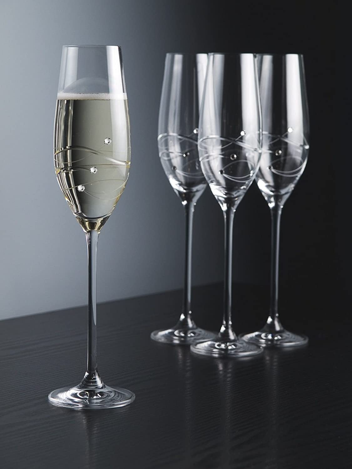 Barski - Handmade Glass - Sparkle - Champagne Flute Glass - Decorated with Real Swarovski Diamonds - Gift Boxed - 7 oz. - Made in Europe - Set of 4