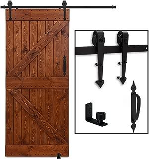 3ft Sliding Barn Door Hardware Kit, CCJH Whole Set Sliding Track Includes 1Handle & 1x Floor Guide, Max Fit 18