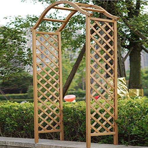 Garden Arch Wooden Pergola Feature Trellis Rose Climbing Plant Archway Natural Tan Wood Arched Support Frame