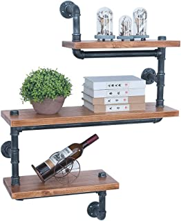 GWH Industrial Pipe Shelving Wall Mounted,Wall Shelf Unit Bookshelf Hanging Wall Shelves,Rustic Metal Floating Shelves,Steampunk Real Wood Book Shelves,Farmhouse Kitchen Bar Shelving(3 Tier)