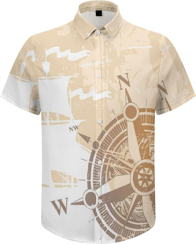 Hawaiian Shirts for Men Ship Sailing Compass Printed Beach Shirt Hawaiian Shirts