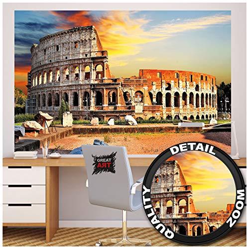 Great Art fotobehang Rome – muurschildering Italiaanse decoratie kenmerkend antiek colosseum amhitheater Colosseum Gladiatoren-strijd afbeelding wallpaper fotobehang wandbehang poster wanddecoratie