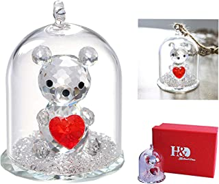 H&D Crystal Bear Figurine Crystal Animal Figurines Collectible (Clear-Bear)