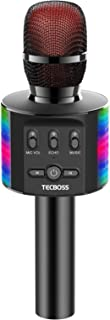 TECBOSS Microphone for Kids, Wireless Bluetooth Karaoke Microphone with LED Lights, The Best Gifts Toys for 3+ Year Old Gi...