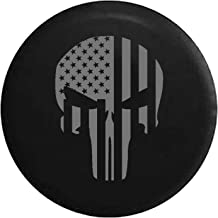 American Flag Tactical Stars & Stripes Punisher Skull Spare Tire Cover fits SUV Camper RV Accessories Gray Ink 35 in