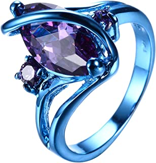 RongXing Jewelry 2020 New Amethyst Diamond Ring,14KT Gold Blue S