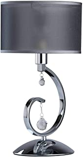 MW-Light 379039401 Lampe de Table Design Chic Métal couleur Chrome Brillant ornée de Pampilles Cristal Abat-jour en Tissu ...