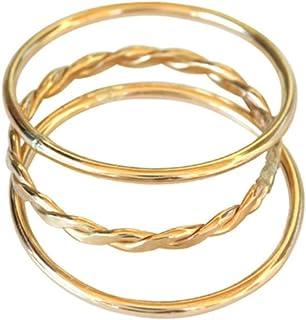 California Toe Rings Women's 14K Gold Filled Plain Braid Thin Band Toe Ring Pinky Finger Midi Knuckle