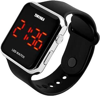 Kids or Adults Fruit Powder led Electronic Sports Watches, Large Screen pu Strap Waterproof Men and Women Students Couple Wristwatch-B