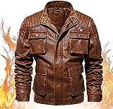 chaquetas de moto Hombre soporte de cuello chaqueta de cuero casual chaqueta de motocicleta de cuero de piel de imitación invierno mantenga cálido vintage urbano retro mirada de ropa exterior