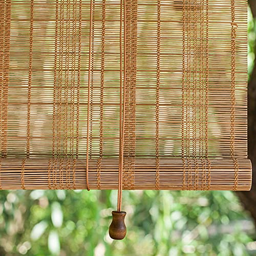 LLXNQ026 Persianas Enrollables de Bambú Natural,Estores de Bambú Decorativa Retro,Persiana Toldo Vertical Cortinas Opacas,para Pérgola,pabellones, Jardines, Balcones etc. (90x140cm/36x55in)