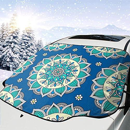 Tcerlcir Parabrisas de Coche Cubierta de Nieve Eliminación de Hielo, Mandala Crema Azul Parasol automático para Todo Clima, Invierno, Verano, 147x11Los 8cm