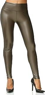 ArizonaShopping Damen Leggings Metallic Leder Optik High Waist Stretch Hose Wet Look D2564