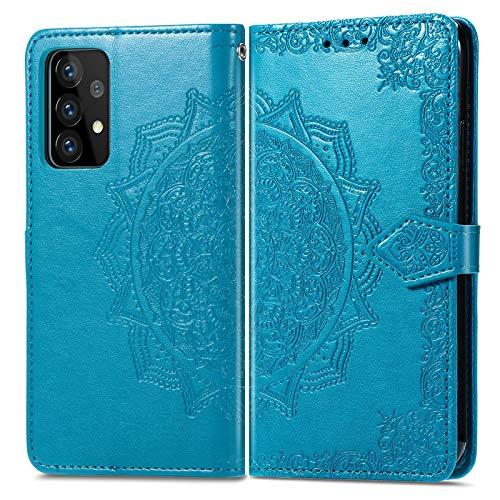 Hülle für Galaxy A72 5G Handyhülle Schutzhülle Leder PU Wallet Bumper Lederhülle Ledertasche Klapphülle Klappbar Magnetisch für Samsung Galaxy A72 5G - ZISD012497 Blau
