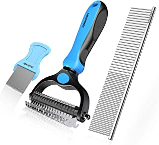 Iokheira Pet Grooming Tools Dematting Comb 2 Sided Undercoat Rake for Dogs and Cats with Medium & Long Hair, Easy for Removing Mats Tangles and Shedding (3 Packs)