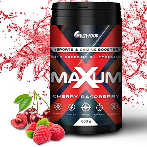 Maxum eSports & Gaming Booster, Play at a level up | 650 g eSports Booster mit 65 Portionen | Made in Germany, Energy Drink mit hochdosiertem Coffein, L-Tyrosin und Isomaltulose (Cherry Raspberry)