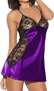 Women Sexy Fashion Personality Stitching Nightdress Babydoll Nightdress Lace Silks Lingerie G-String Set
