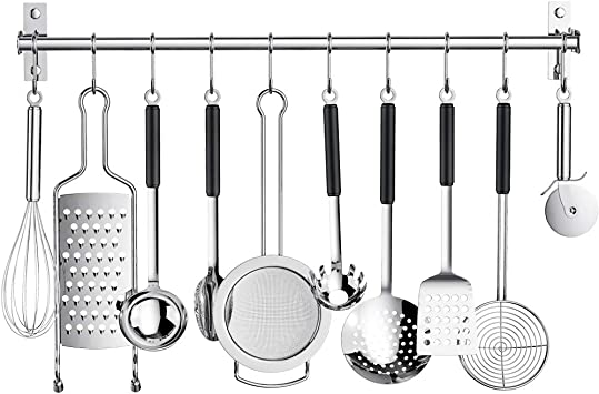 Amazon Com Kitchen Sliding Hooks Stainless Steel Utensil Hanging Rack With 10 Removable S Hooks Wall Mounted Kitchen Rail Organizer For Cooking Utensils Bbq Tools Hanger Bar Silver Home Improvement