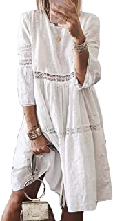 Women Bohemian 3/4 Sleeve Hollow Out Loose Ruched T-Shirt Dress