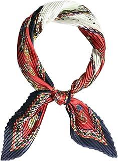 Women's Satin Rhombus Chiffon Polyester Muffler Pleated Scarf Head Neck Multiuse Scarves Bag Accessories