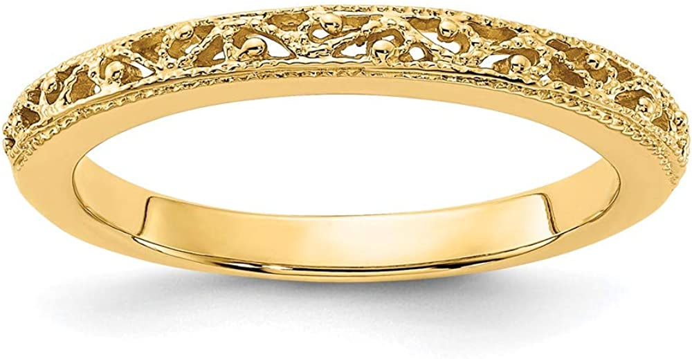 14k Yellow Gold Filigree Wedding Ring Band Size 7.00 Fancy Fine Jewelry For Women Gifts For Her