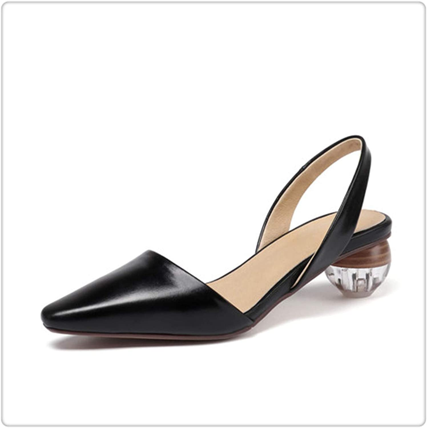 Yyixianma Women High Heel shoes Slingbacks Pumps Lady Sexy Pointed Toe Work Office shoes Mixed colors Round Heel Handmade LLI01 MUYISEXI Black 9