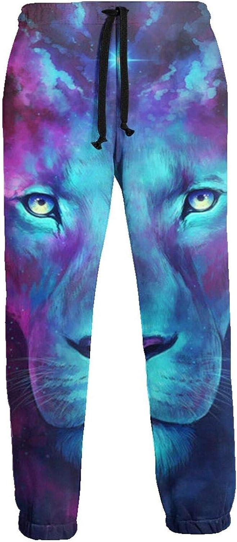 Mens Elastic Waist Sweatpants Ice Fire Lion Joggers Sweatpants for Gym Training Sport Pants