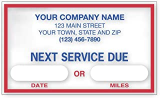 """CheckSimple""""Next Service Due"""" Oil Change Stickers, Customized - Static Cling Windshield Labels - Garage Decals (1,000 Qty)"""