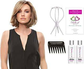 Kristi - Lace Front Single Mono Handtied Synthetic Wig by Jon Renau, Wig Stand, Comb, Mara Ray 4oz Luxury Shamp & Cond Kit, 19 Page Belle of Hope Wig Care Booklet - 6pc Bundle (6F27)