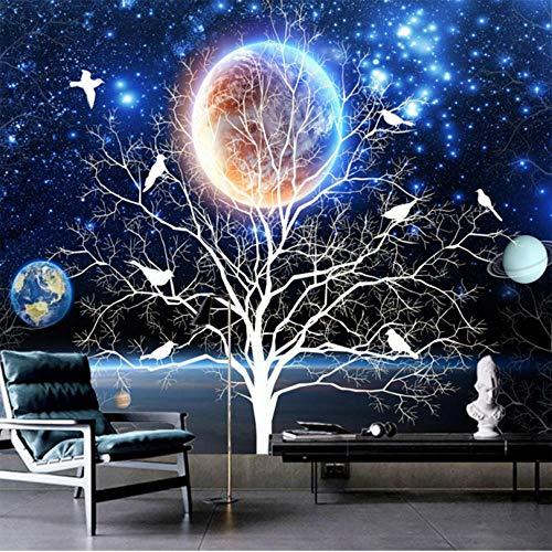 Shuangklei Maak elke mogelijke sterrenheldere boom-bloemen van de grootte-wandfoto-3D en vogel-wandfoto-moderne woonkamer-sofa-interieur-fotobehang bijzonder aan 280 x 200 cm.