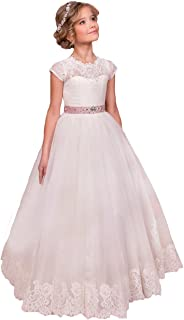 Sittingley Flower Girls Lace Tulle Gowns First Communion Dresses