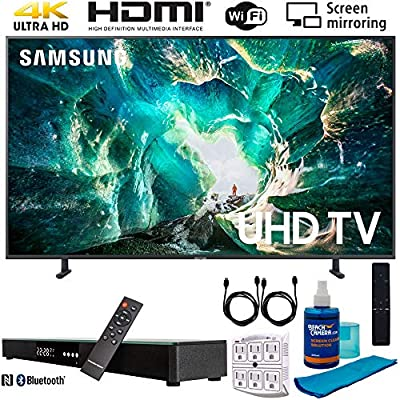 "Samsung RU8000 LED Smart 4K UHD TV (2019) w/Soundbar Bundle Includes, Deco Gear Home Theater Surround Sound 31"" Soundbar, Screen Cleaner, 2X HDMI Cable and 6-Outlet Surge Adapter"