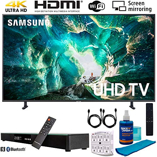 Samsung UN55RU8000 55' RU8000 LED Smart 4K UHD TV (2019) w/Soundbar Bundle Includes, Deco Gear Home Theater Surround Sound 31' Soundbar, Screen Cleaner, 2X HDMI Cable and 6-Outlet Surge Adapter